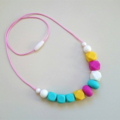 Silicone Necklace - Bright Candy Mix (Pink, Turquoise, White, Yellow)