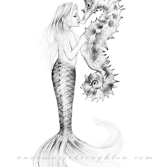 8x10 Little Girl Mermaid & Seahorse Pencil Drawing Art Print