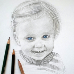 Portrait drawing in BW A5, custom illustration from your photo