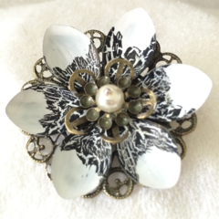 White and Black Lotus flower brooch.