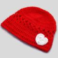 crochet baby beanie | red +  white heart, Valentine's shower gift 0 - 3+ months