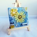 Flower with lemon yellow hues and aqua blue background mini mixed media canvas