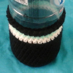 Bottle Cosy - Black with White and Cyan Hoops