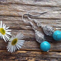 Turquoise Gemstone & Tibetan Bead Earrings