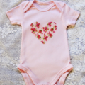 Beautiful Pink Girls Outfit Romper Onesie / Blouse  & Love Heart Shaped Applique
