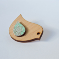 Bird Shape Wooden Brooch With Mint Green Floral Flower Pattern Wing Detail