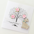 Stamped tree with pink mulberry flowers bunny rabbit happy birthday her card