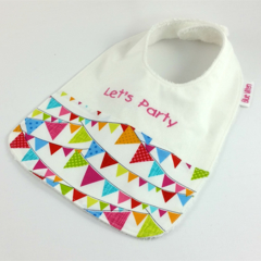 Bib for Baby Let's Party Cotton Flag Fabric Snap Fastened Pink or Blue Writing .