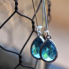 Turquoise Blue Teardrop Glass ~Long Drop Earrings