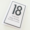 Happy Birthday 18th black  glitter numbers any age boy girl card
