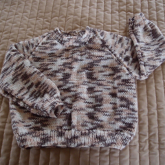 SIZE 2-3 - Hand knitted jumper in multi colour: OOAK, washable, warm