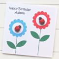 Birthday Personalised card Happy Birthday ladybugs Mum Sister Friend Teen Nanny