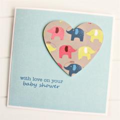 Baby Shower card baby boy or girl elephants paper heart newborn