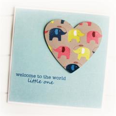 Baby Boy Girl Personalised card elephants heart new baby newborn custom neutral
