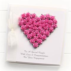 Personalised Engagem card keepsake boxed roses heart ivory and pink bride groom