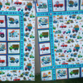 Truck quilt/playmat for the boys featuring novelty trucks in bright colors -