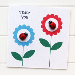 Thank You card ladybugs and flowers | Appreciation Gratitude