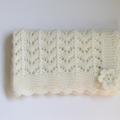 Baby Blanket | Hand Knitted FROST Wool | Pram Stroller Car | Ready to Ship