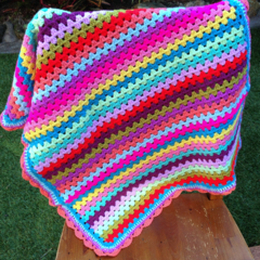 Crochet Baby/Pram Blanket Multi Colour Granny Stripe Design