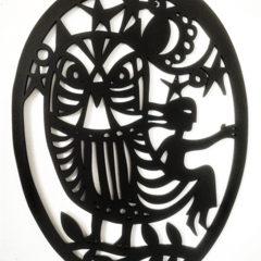 Girl with Owl woodcut