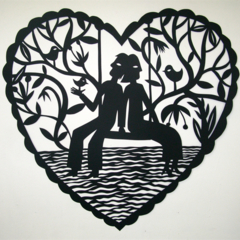 """Together"" woodcut"