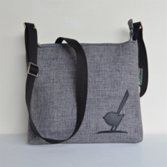 Across body bag. Quality pewter grey upholstery fabric with black bird detail