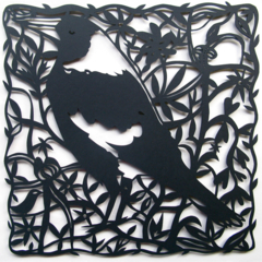Magpie woodcut