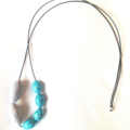 Howlite and Glass Necklace on Leather