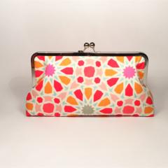 Starry eyed in orange large clutch purse