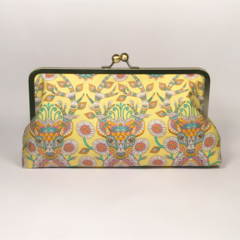 Reindeer in yellow large clutch purse