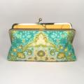 Kaleidoscope in green large clutch purse
