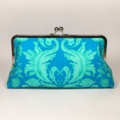 Damask in turquise large clutch purse