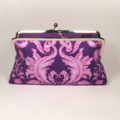 Damask in deep purple large clutch purse