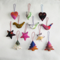 12 Handmade Felted Christmas Decoration 3 stars 3 trees 3 birds 3 hearts
