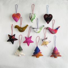 12 Handmade Felted Christmas Decoration 3 stars 3 trees 3 birds 3 hearts
