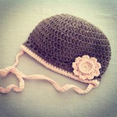 20% OFF Girls Crochet Hat in Soft Merino Wool Taupe with Pink Trim & Flower