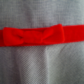 Pinafore with Red Velvet Trim