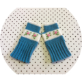 Crocheted Fingerless Gloves Rose Embroidered in Blue and Cream