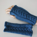 Turquoise Blue Cabled  Ladies Fingerless Mittens  -  Hand knitted