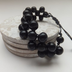 Reserved for Rachael Black Wood Bead Bracelet