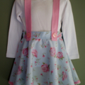 Blue and Pink Circle Skirt with Straps