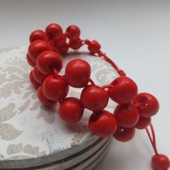 Red Wood Bead Bracelet