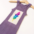 Brightly Coloured Kids Singlets, Screen printed Fluro Feather Design, size 1