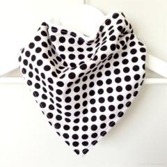Buy 3 Get 4th Free Bandana Dribble Bib Black and White Spots