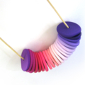Pink - Purple Clay Disc Necklace