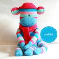 Sock Monkey Kit - Pink and Blue Stripes, Craft Kit, Soft Toy Pattern