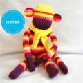 Sock Monkey Kit - Purple Pink and Yellow Stripes, Craft Kit, Soft Toy Pattern