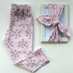 Pink arrow legging & top knot gift set