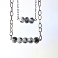 Black & White Glass Necklace on Gunmetal Chain