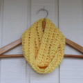 Crochet bright yellow infinity scarf | Easter or birthday gift 2 - 8+
